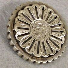ANTIQUE STERLING SILVER VICTORIAN BROOCH CLASSIC PERIOD STYLE HAND ENGRAVED