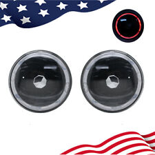 "Pair 7"" Round Red LED Halo Angel Eyes Black Housing Headlight"