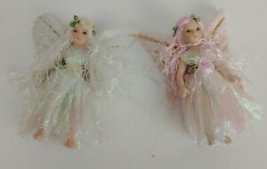 2x Decorative Fairies - One of A Kind Handmade Pink & White - Tiny Fairy Figures