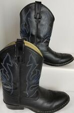 Red Ranch Western Boots Youth Kids Little Concho Cowboy Heel Black Leather 1752C