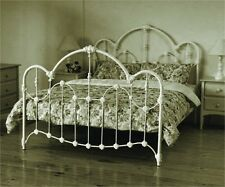 KING CAST AND WROUGHT IRON  NORMANDY BED - ANTIQUE WHITE