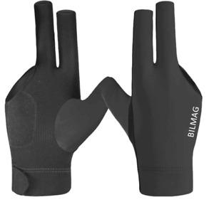 Billard Handschuh BILMAG 3-Finger schwarz Elasthan Pool Snooker für rechte Hand