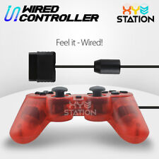 NEW Wired Game Controller Gamepad Joypad For PS2 Clear Red