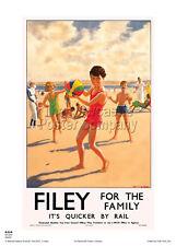 Filey 2 Railway Vintage Retro Oldschool Old Good Price Poster