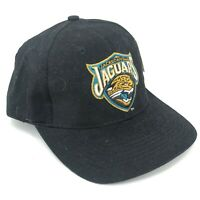 Vintage Jacksonville Jaguars Adjustable Hook and Loop Black Hat Gold Teal Logo