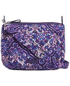 Vera Bradley Womens Carson Mini Shoulder Bag Purple Floral Quilted Flap S