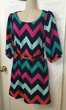 Almost Famous navy and multicolor zigzag print dress Small S belted shift