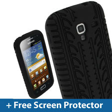 Black Silicone Tyre Skin for Samsung Galaxy Ace 2 I8160 Android Case Cover Shell