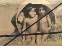 Vintage original Photo Postcard Australian Aboriginal Children Early Birds Egg
