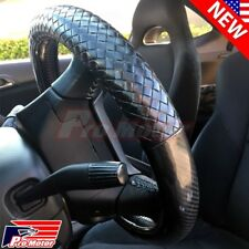 Euro Black Carbon Fiber Steering Wheel Cover Protector Hand Pad Leather Slip-On