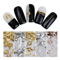 Gold Silver Rivet Metal Nail Studs  Feather Star Moon Manicure 3D Nail Art Decor