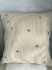 Peony & Sage Cushion Cover Bee Pinstripe  Grey on Ivory Linen Fabric