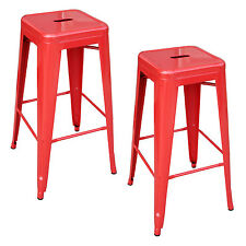 AmeriHome BS030R2PK Loft Red Metal Bar Stool - 2 Piece