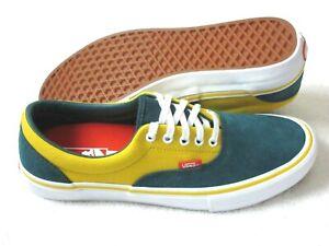 Vans Men's Era Pro Prime Atlantic Gold Green Yellow Canvas Suede shoes size 13