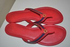 fe8d9c91fdf1 TORY BURCH MARITIME Thong Flip Flop Sandal Red with Blue Stripe Leather Sz  11