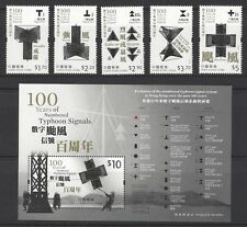 China Hong Kong 2017 100 Years of Numbered Typhoon Signals stamps + S/S