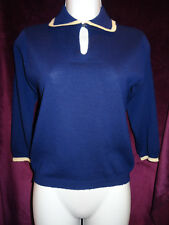 Vintage Blue Winged V-Neck Wool Sweater with White Edges, 3/4 Length Sleeves