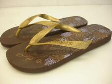 Womens 6 M Havaianas Top Tiras Flip-Flop Rubber Metallic Gold Sandals Flat Thong