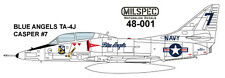 "MILSPEC DECALS, 48-001, 1/48 SCALE, TA-4J SKYHAWK, BLUE ANGELS, ""CASPER"""