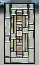 •Beveled Stained Glass Window Panel,Clear with Amber Highlights