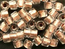 50 COPPER-lined CRYSTAL faceted roller large hole Czech glass beads - 5x4mm