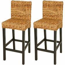 vidaXL 2x Bar Stools Abaca Brown with Backrest Kitchen Breakfast Chair Seat
