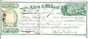 1866 Allen & Millard Helena MT over Virginia City Idahoe Bank Check