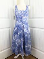 Talbots Fit And Flare Dress Size 8 Pockets Sundress Blue White Sleeveless Midi