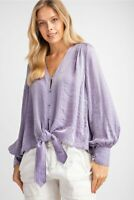 Easel Lilac V-Neck Puff Sleeve Button Front Satin Top