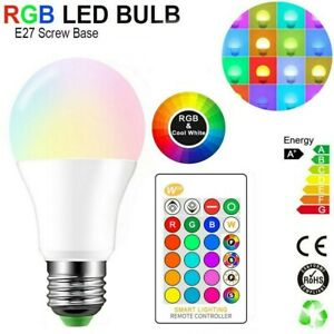 E27 RGBW Birne Farbwechsel Lampe Bulb Bunte LED Glühbirne + IR Fernbedienung 10W