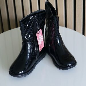 BNWT MATALAN Girl's Black Patent Bow Design Quilted Boots size UK 11 EUR 29