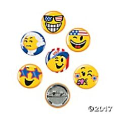 """Mini Buttons - 48 Patriotic emoji 1"""" pins - Great prize or Giveaway Smile Faces"""