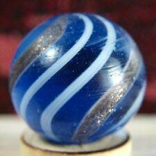 "BLUE GLASS GERMAN HANDMADE GOLD LUTZ SWIRL MARBLE  0.67"" PONTILS"