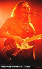 """FENDER POSTER~Geddy Lee of RUSH On Stage Live 24x37"""" Playing Jazz Bass Rock Out~"""