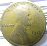 1916 Lincoln Cent Wheat Penny - Rare U.S. Copper Coin