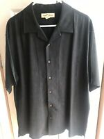 Men's Tommy Bahama Hawaiian 100% Silk Shirt Short Sleeve Solid color Sz Large