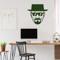 Heisenberg Breaking Bad Silhouette Head Face Wall art decor vinyl sticker Decal