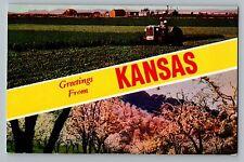 Greetings From Kansas Ks Large Letter Farm Tractor Flowers Scene Postcard 1950s
