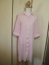 the bay & country pink flocked cotton voile dress  button through shift  small