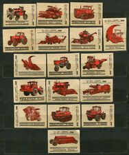 1976, TRACTORS, AGRICULTURAL MACHINERY, SET OF 17 RUSSIAN MATCHBOX LABELS