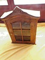 Ancienne vitrine miniature vitrée en noyer stylisée Louis XV-faite main-XIX éme