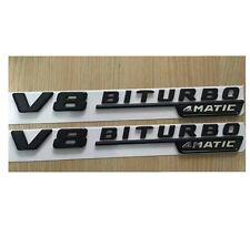 Flat Black V8 BITURBO 4MATIC  Letters Trunk Emblem Badge for Mercedes Benz