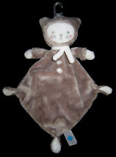 Doudou plat losange Chat blanc marron taupe beige Tex Baby Carrefour Nicotoy