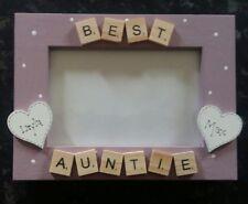 "Bespoke Personalised best auntie photo Frame 6""x4"" scrabble art gift keepsake"