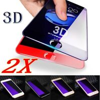 2x 3D Full Coverage Blue Ray Tempered Glass Screen For iPhone 6S 7 Plus 8 Plus X
