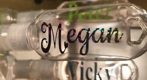 Personalised Bottles & Clips Keyring Hand Gel Lotion Creams Travels Work Shops