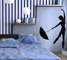 Wall Stickers Vinyl Decal Rain Dance Umbrella Girl z1094