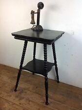 Antique Victorian Ebonised Bobbin Leg Occasional Gypsy Side Table Old