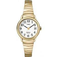 Timex T2h351 Indiglo Easy Reader Ladies Watch Analogue Gold With White Dial