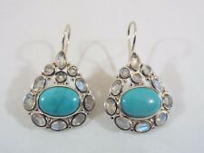 "Himalayan Gems Sterling Silver Turquoise and Moonstone Drop Earrings 1 1/8"" Long"